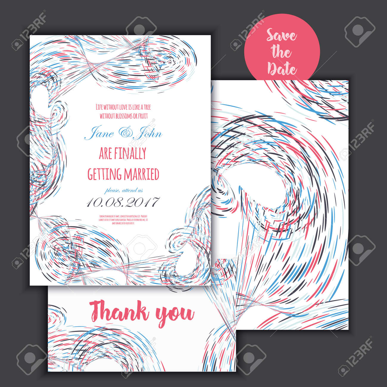 Geometry Save The Date Card With Modern Colorful Shapes Wedding