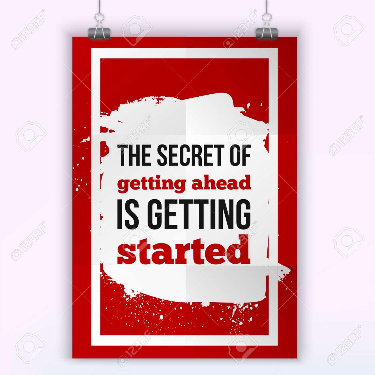 El Secreto De Salir Adelante Es Empezar Cita De La Victoria De La Motivación Plantilla De Póster Para Invitación Tarjetas De Felicitación O