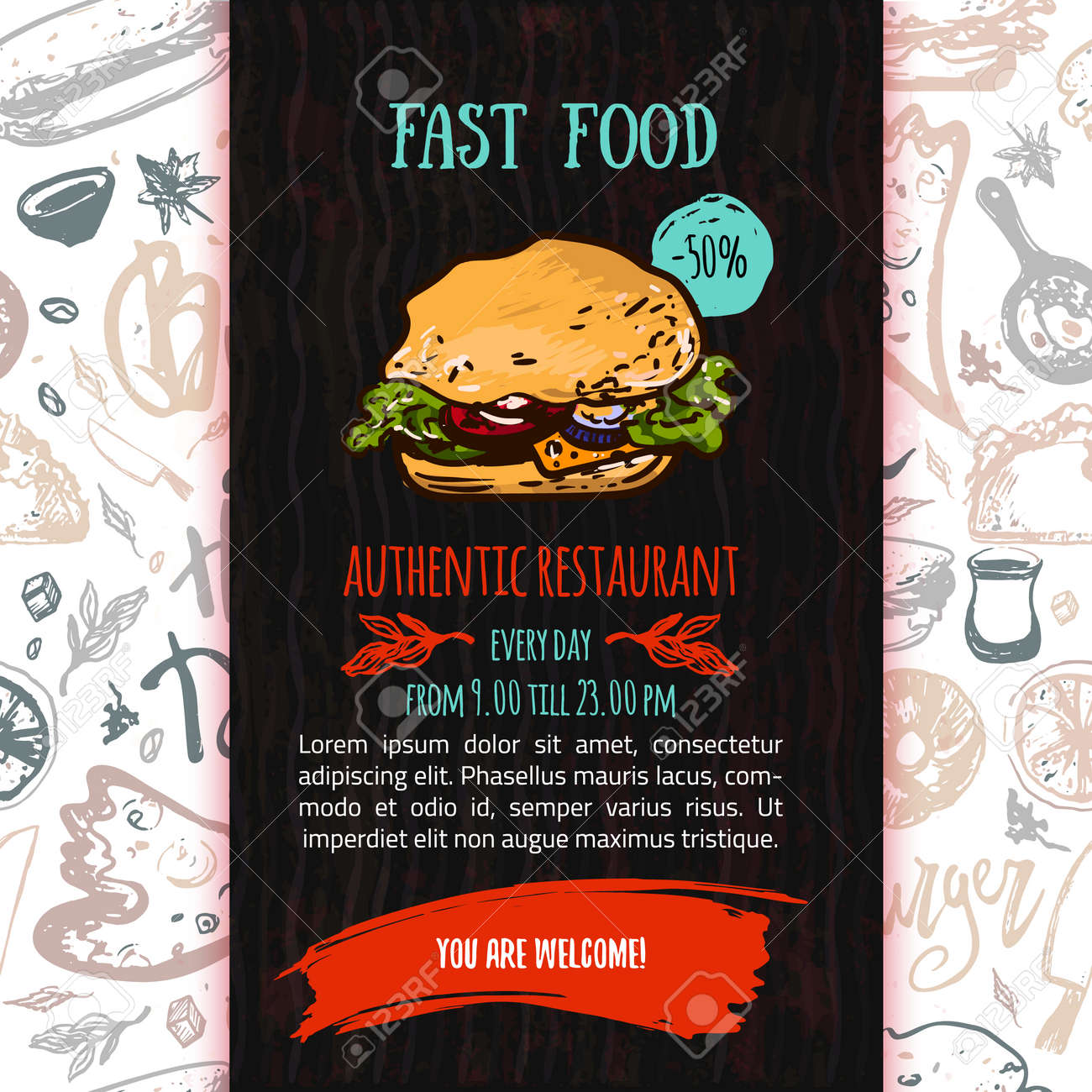 fast food menu design template with hand drawn vector illustration