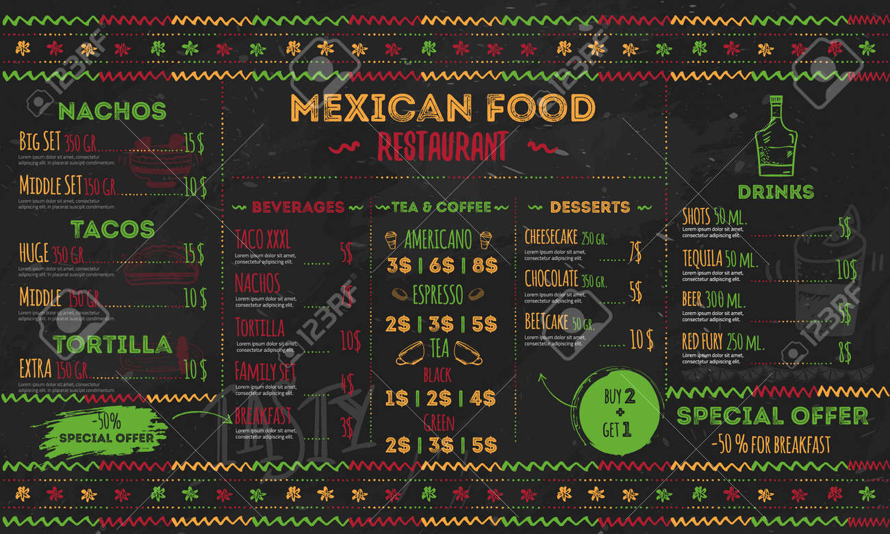 mexican food restaurant menu, template design. flyer for promotion