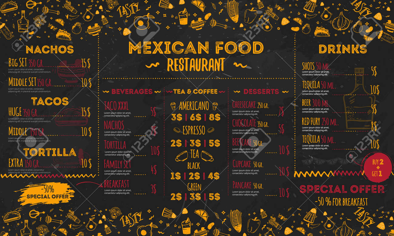 Mexican Food Restaurant Menu Template Design Food Flyer For