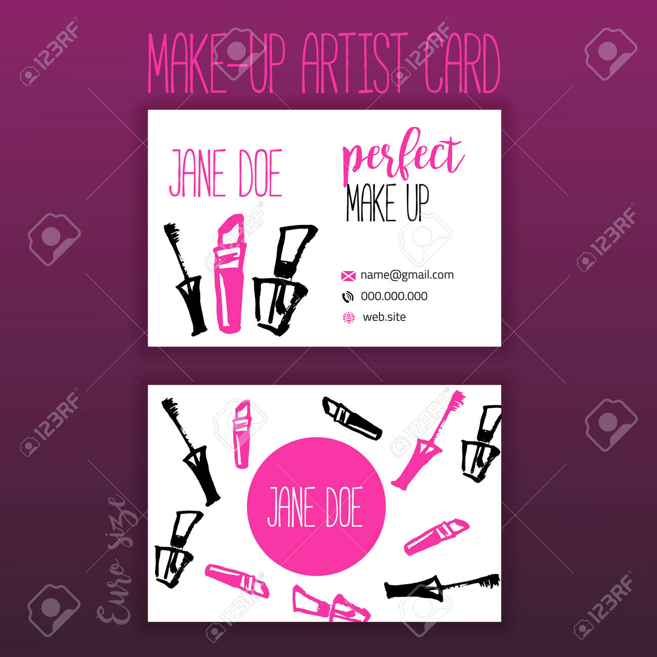 Makeup business card with makeup items brush lipstick and stock makeup business card with makeup items brush lipstick and mascara stock photo 70804118 colourmoves