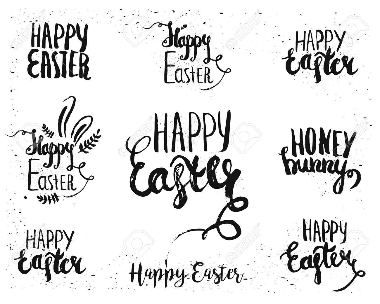hand written easter lettering for greeting card text templates