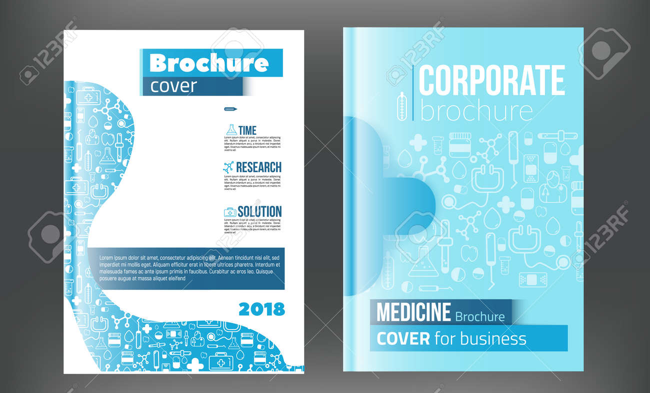 medical brochure design template flyer with inline medicine