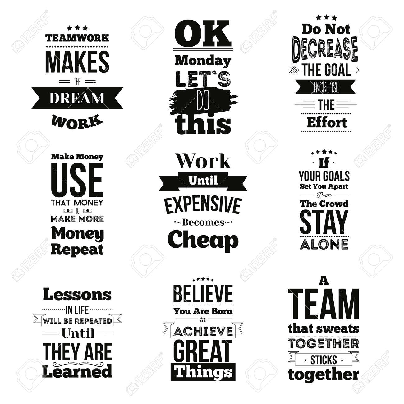 Set of Inspirational quotes about work and team vector design..