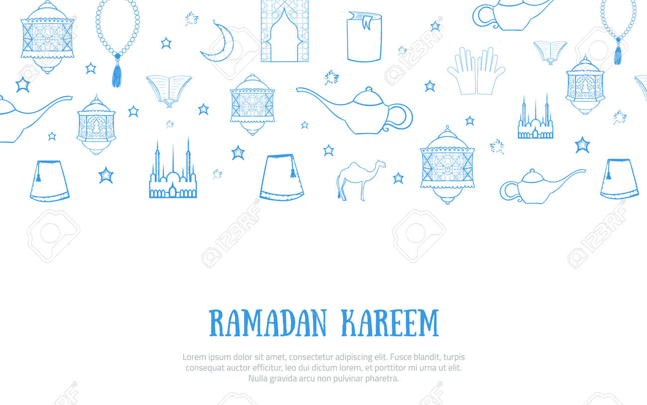 photograph relating to Ramadan Cards Printable named Printable blue minimalistic Ramadan Kareem greeting card vector..