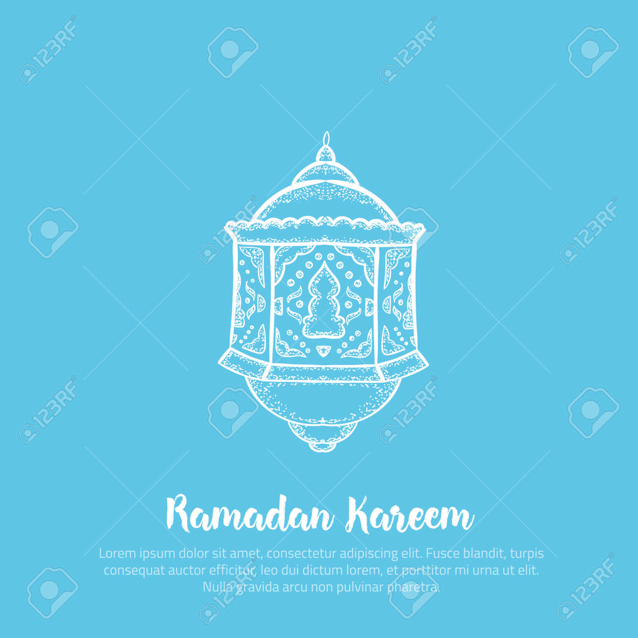 photograph regarding Ramadan Cards Printable identified as Printable minimalistic Ramadan Kareem greeting card vector case in point..