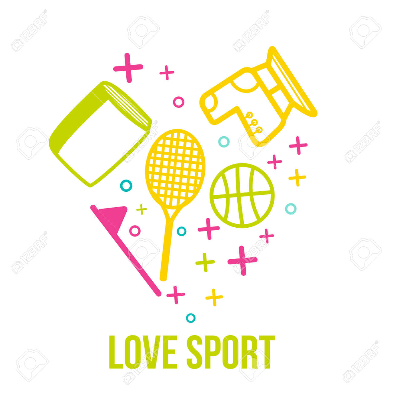 Love sport symbol in heart shape frame with line art sport icons love sport symbol in heart shape frame with line art sport icons and healthy lifestyle elements buycottarizona Image collections
