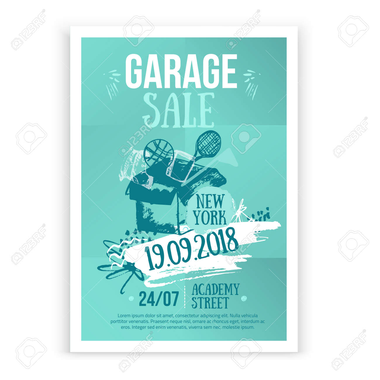 Print Garage Sale Poster Design With Hand Drawn Elements In Trendy