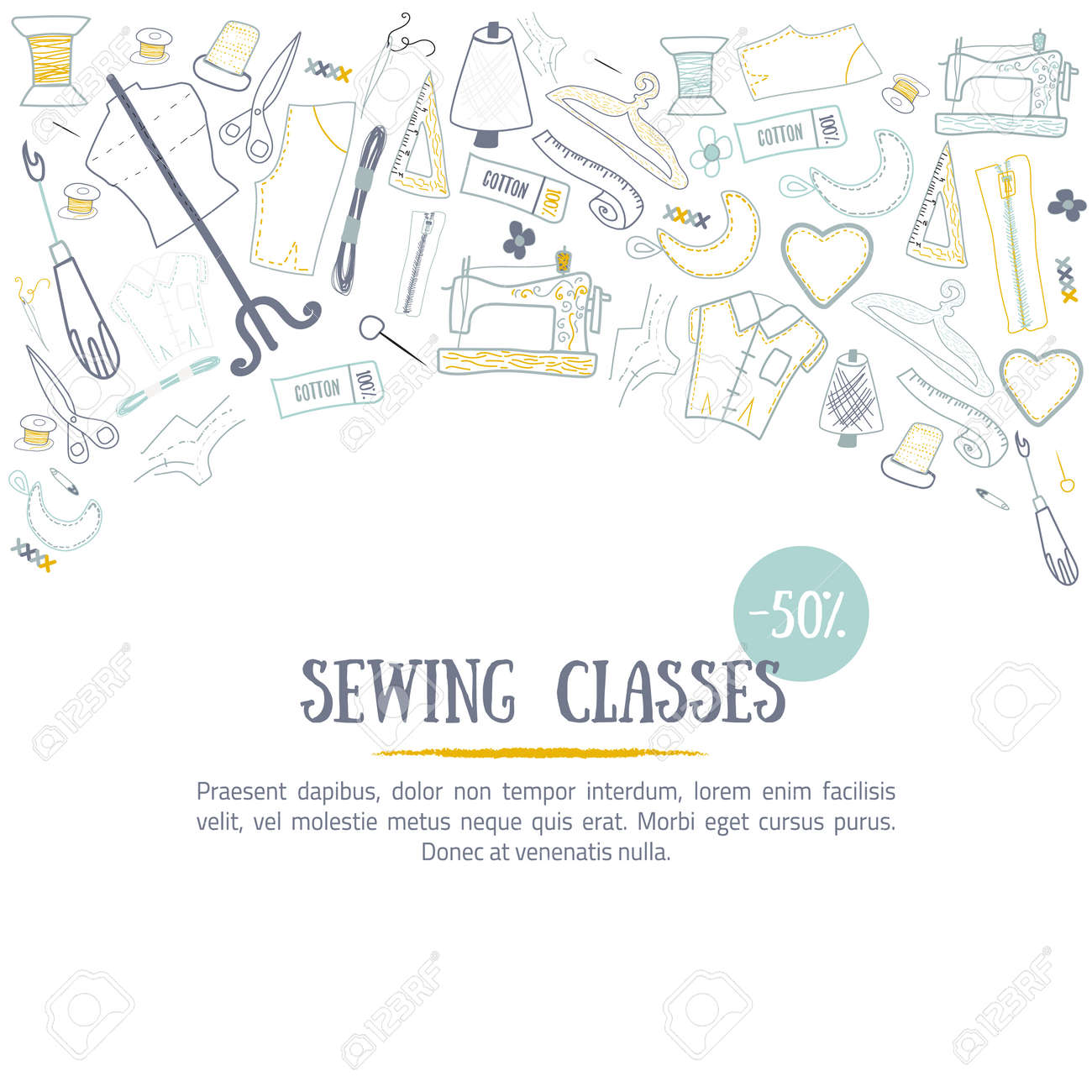 Sewing classes banner design with needle and craft tools  Hobby