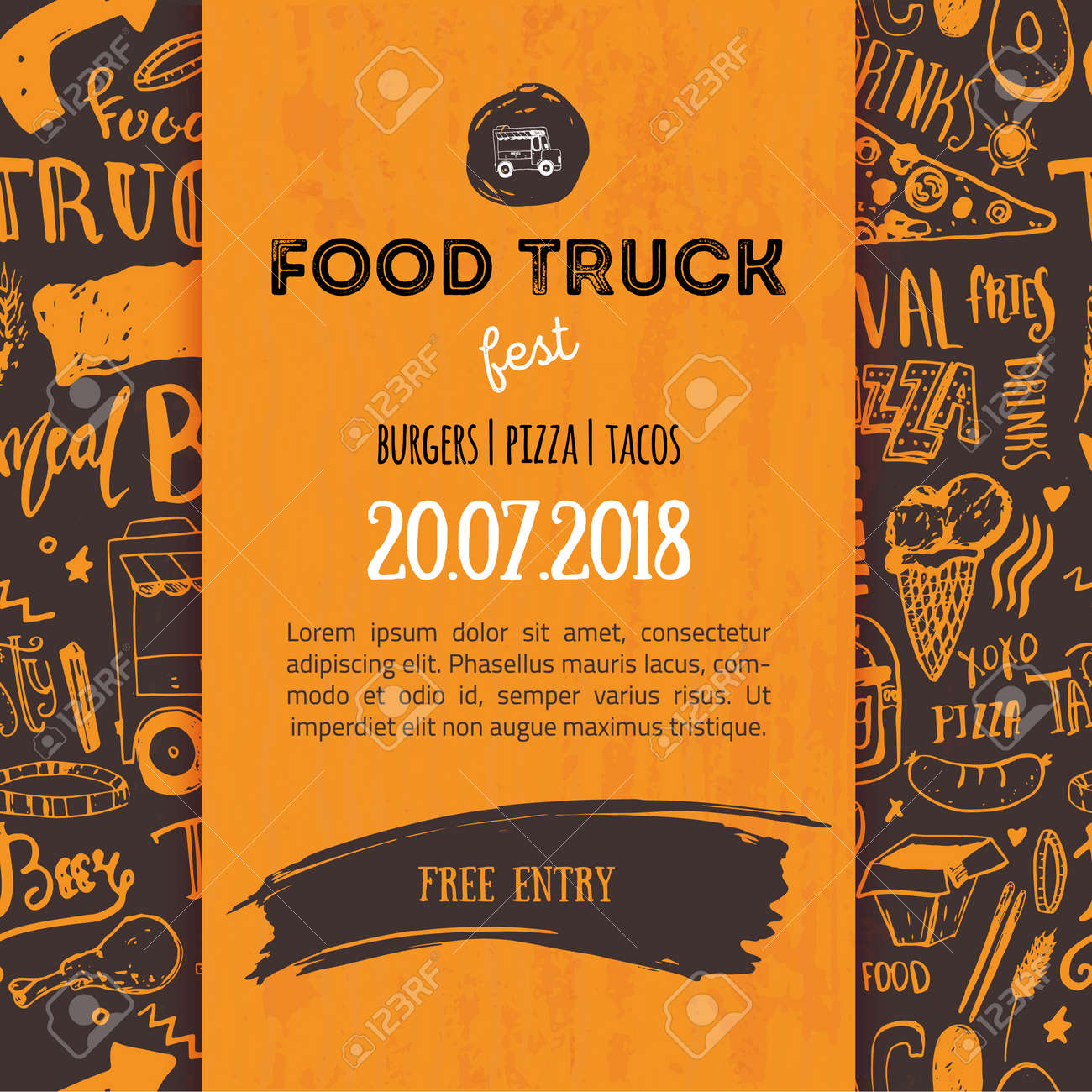 street junk food festival menu cover design. festival design