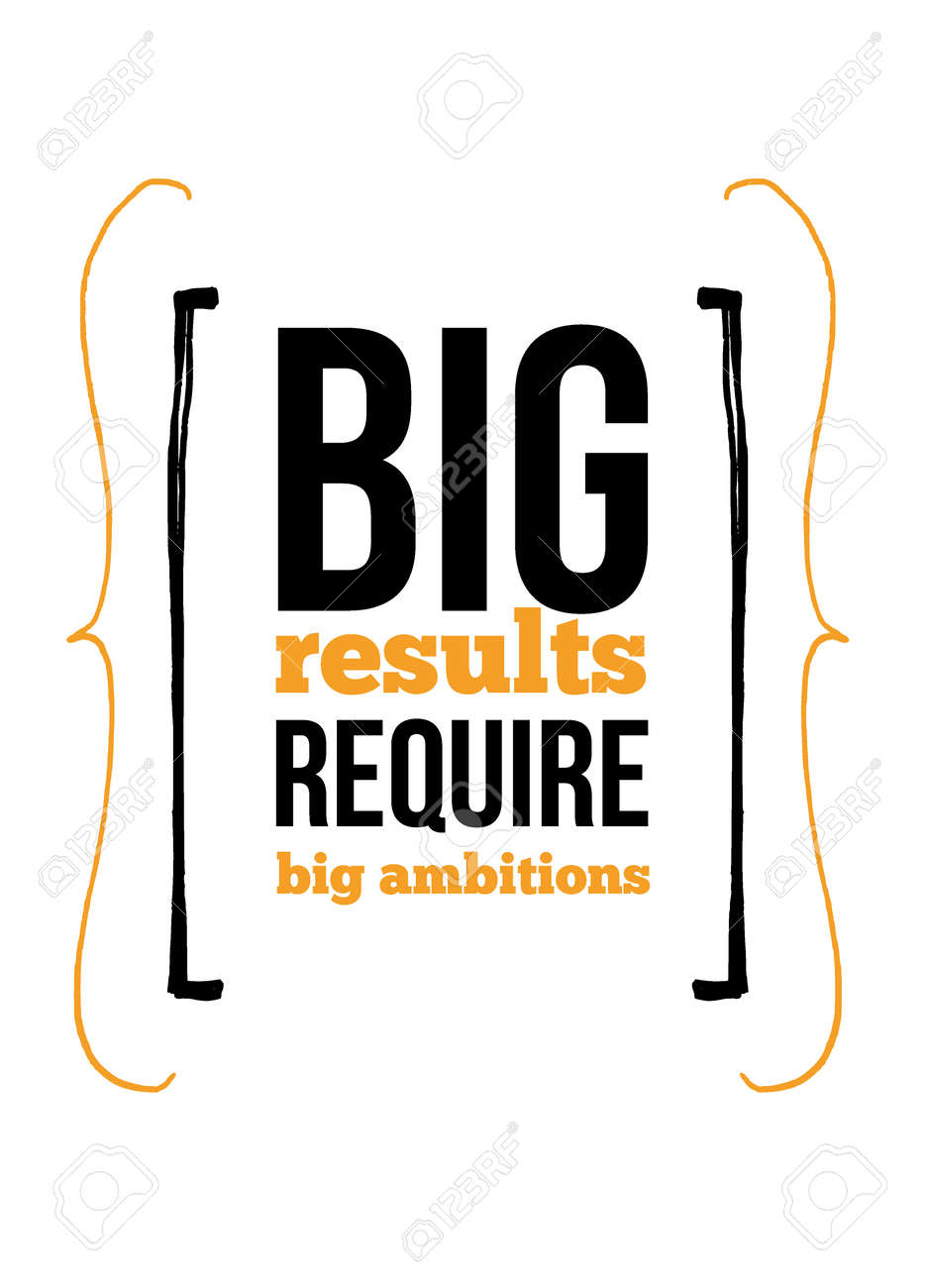 Beau Big Results Require Big Ambitions Inspirational Quote About Work. Poster  Creative Inspiration For Wall Stock
