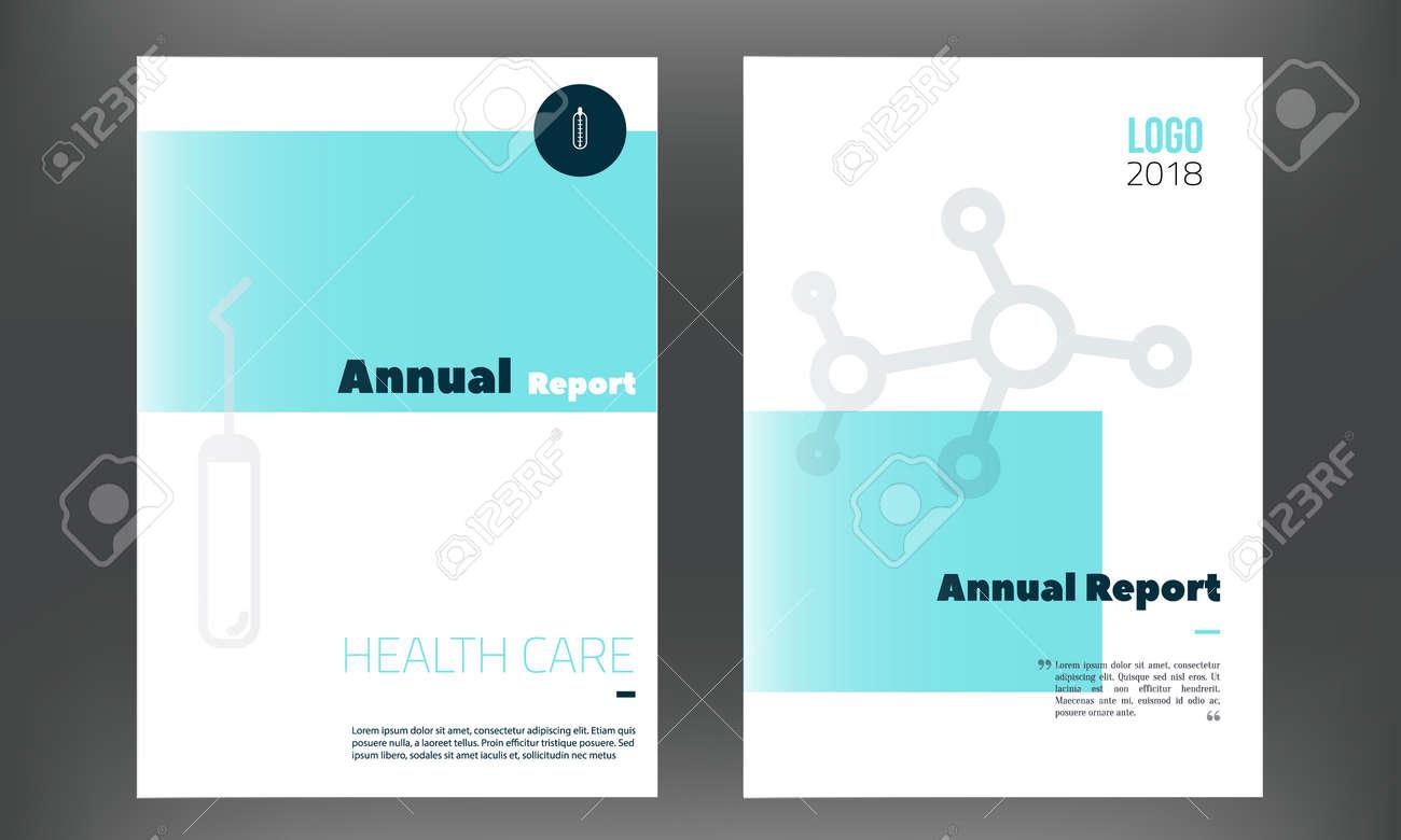 Plantilla De Informe Anual Médico En Color Azul. Flyer Con Iconos De ...