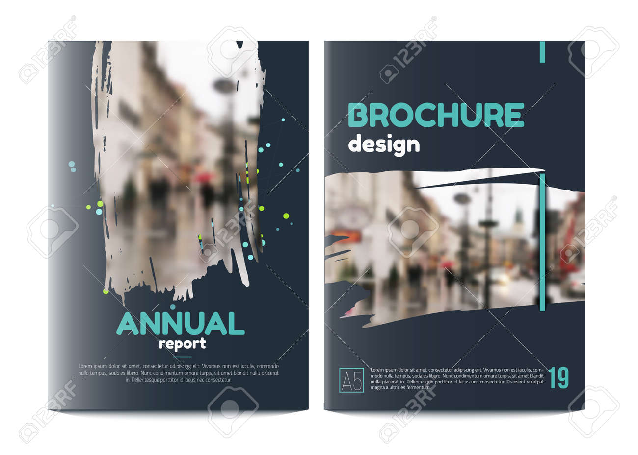 Vector Brochure Cover Templates With Blured City Landscape Business