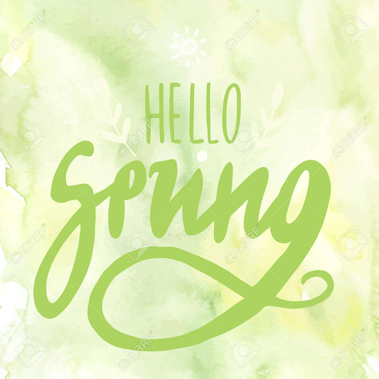 Hello Spring Digital Lettering For Promotion With Flourishes