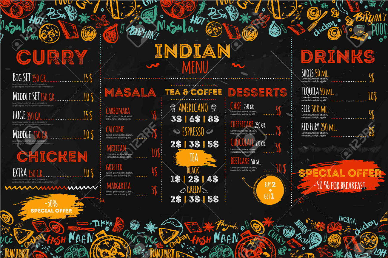 Hand drawn Indian food menu design with rough sketches and lettering