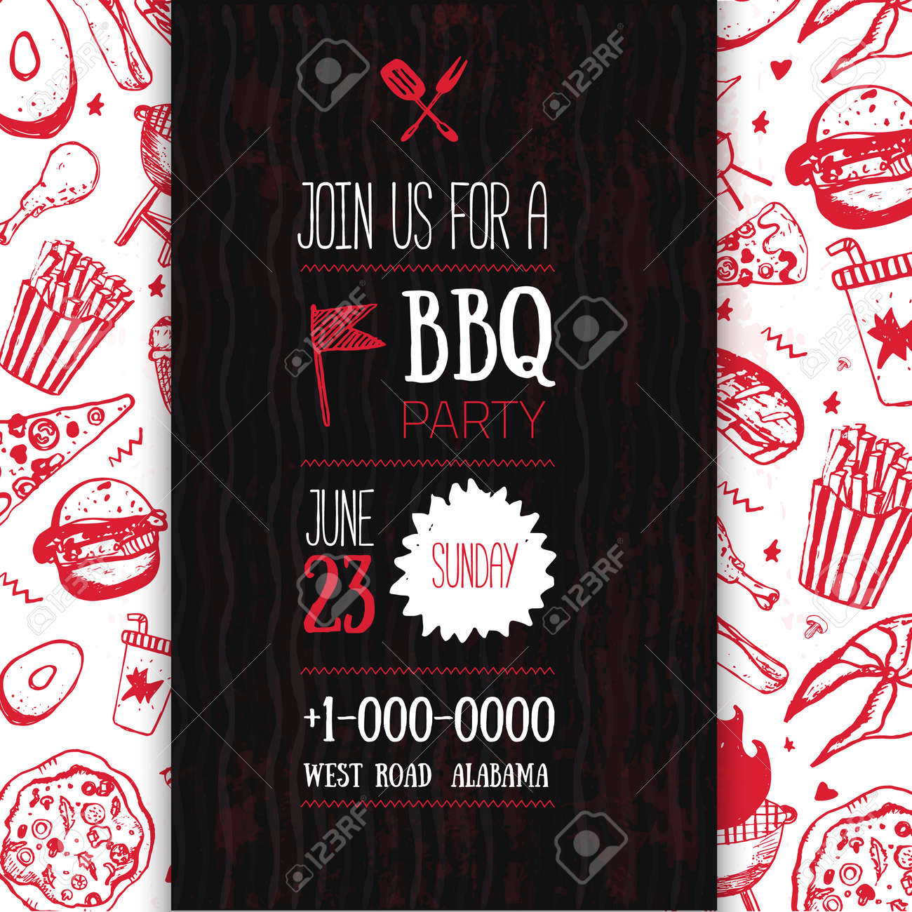 Barbecue Flyer Template For Your Party With Grunge Icons And