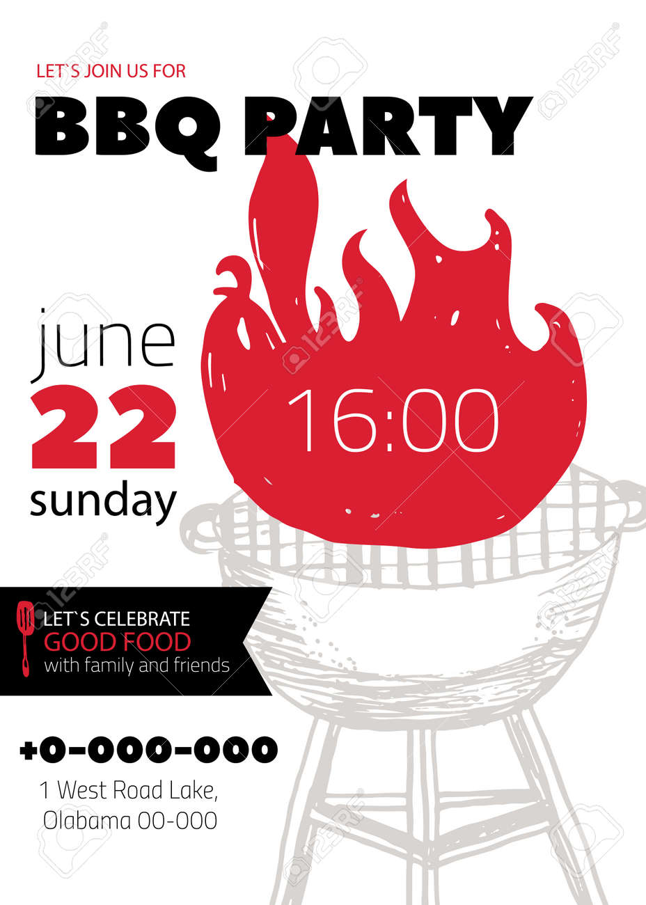 Grunge bbq party invitation template for posters flyers barbeque grunge bbq party invitation template for posters flyers barbeque grill manu on white background stopboris Image collections
