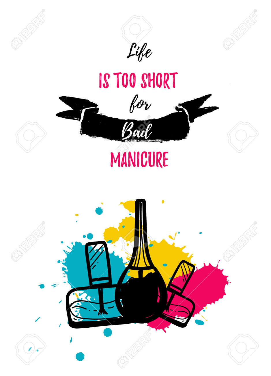 manicure poster in modern colorful style for nail salon with