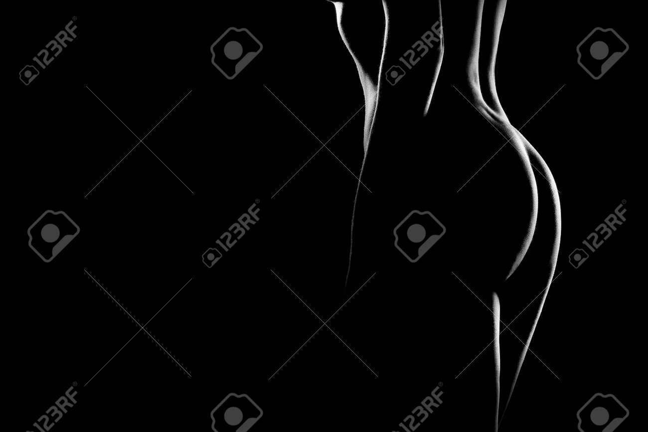 El cuerpo desnudo de mujer sexy. Hermosa chica desnuda sensual. Fotografía artística en blanco y negro. Foto de archivo - 11882248