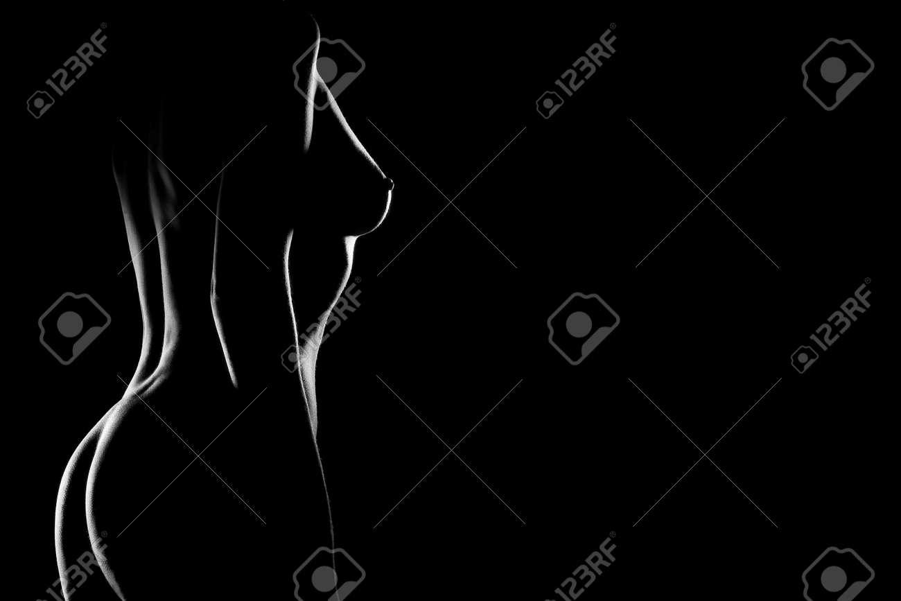 Sexy body nude woman breast. Naked sensual beautiful girl. Artisric black and white photo. Stock Photo - 11882247