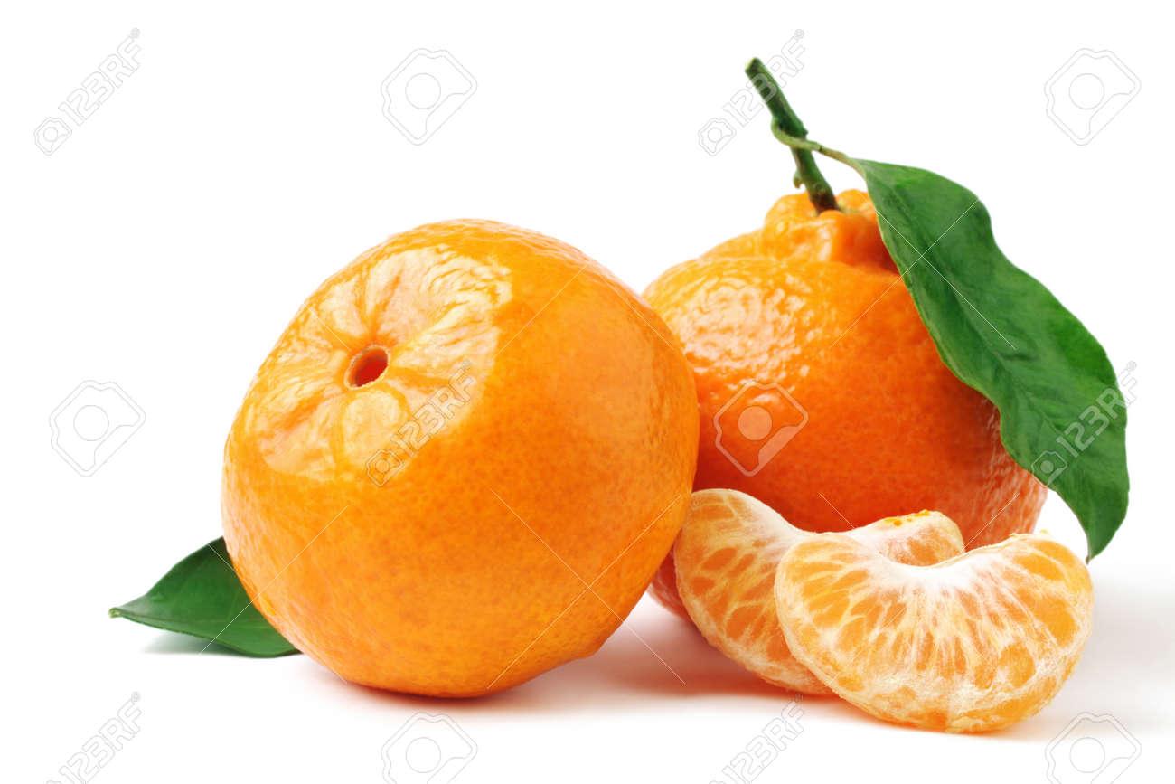Tangerine with leaf. Mandarin isolated on white. - 11882306