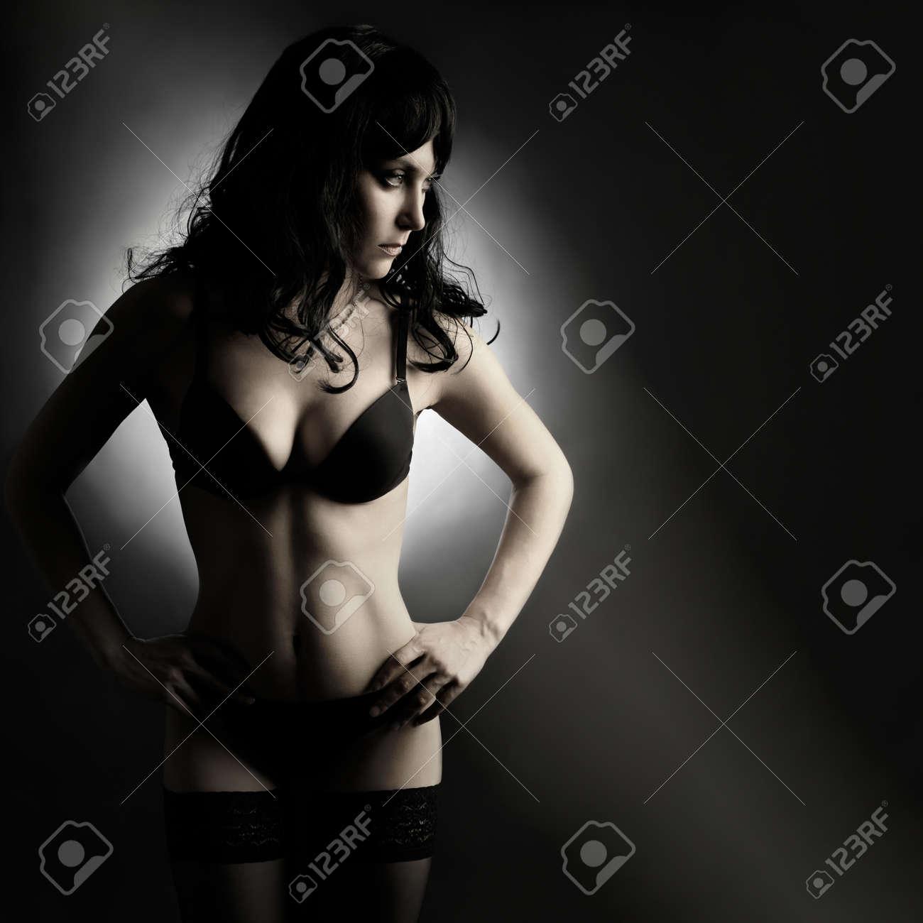 Sexy fashion woman in lingerie portrait. Black elegant underwear Stock Photo - 12576061