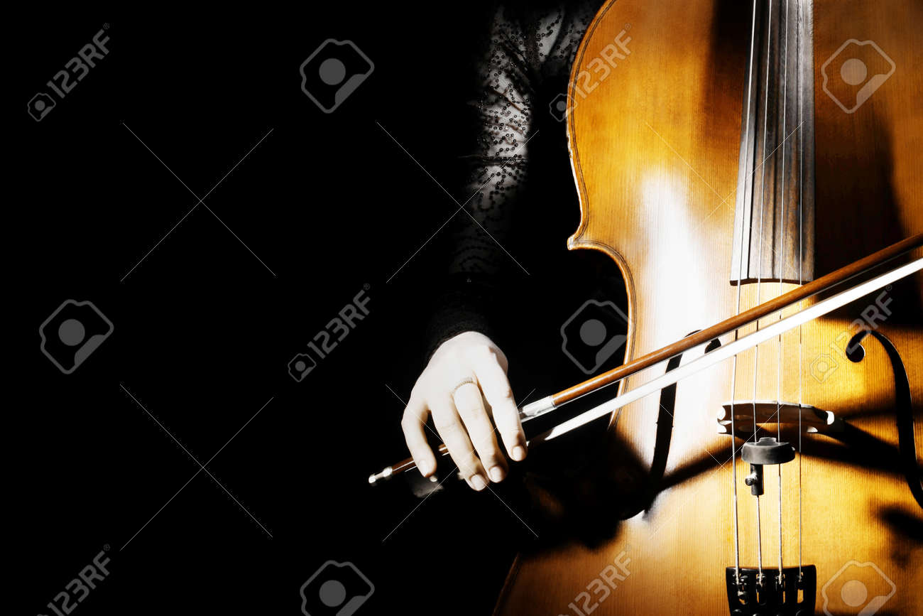 Cello classical music cellist playing Orchestra musical instruments on black - 17411437