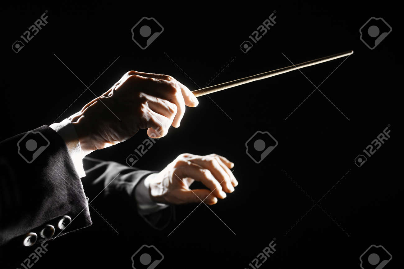Orchestra conductor hands baton  Music director holding stick Standard-Bild - 19808513
