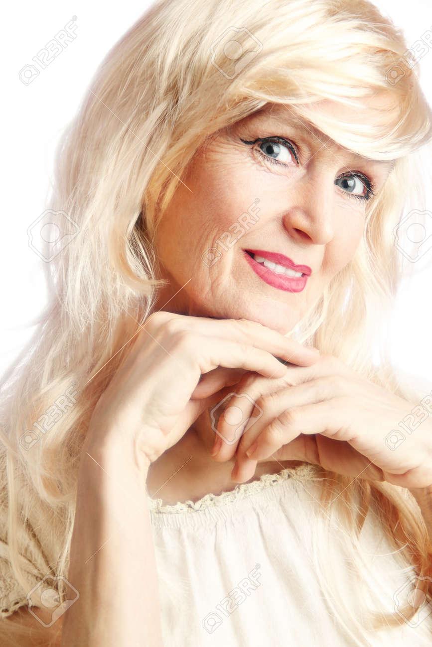 Senior woman Portrait of smiling beautiful mature woman 60 years old Standard-Bild - 19664243