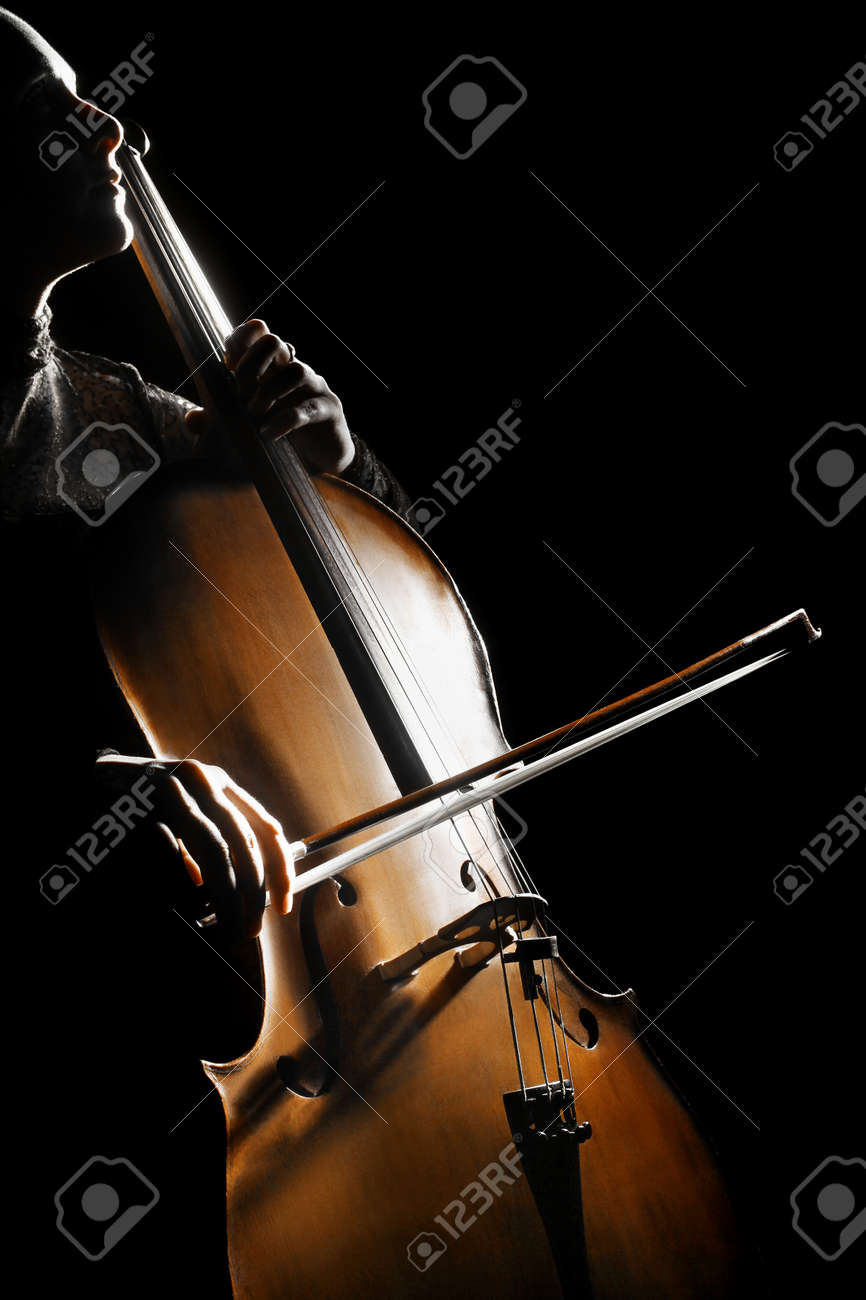 Cello cellist playing orchestra classical musical instruments Standard-Bild - 22214473