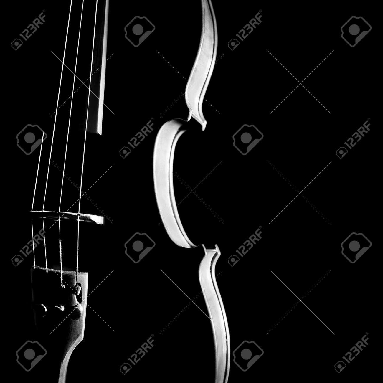 Violin orchestra musical instruments  Silhouette string closeup on black Standard-Bild - 22220709