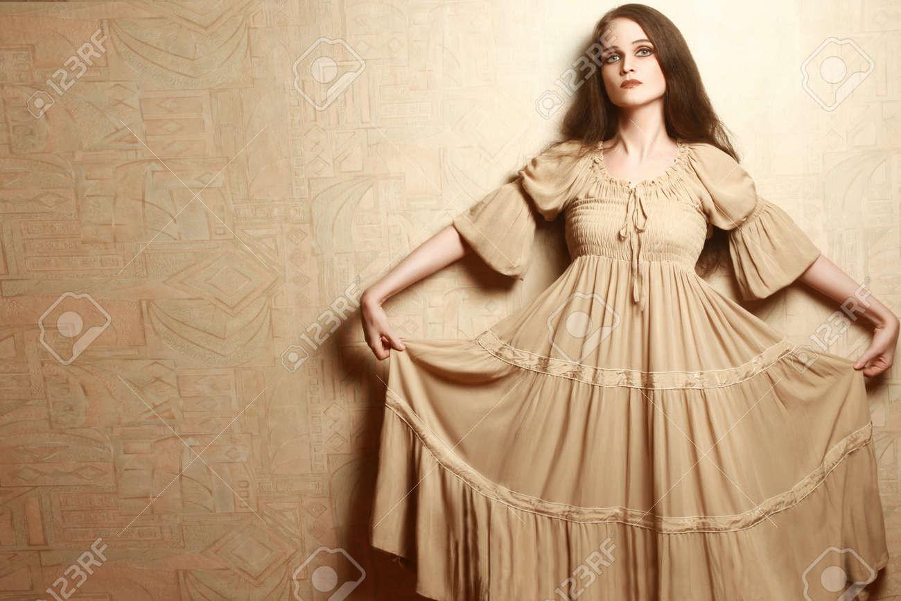 Fashion Woman In Vintage Dress Retro Dress Model Elegant Romantic Style  Stock Photo 30695150