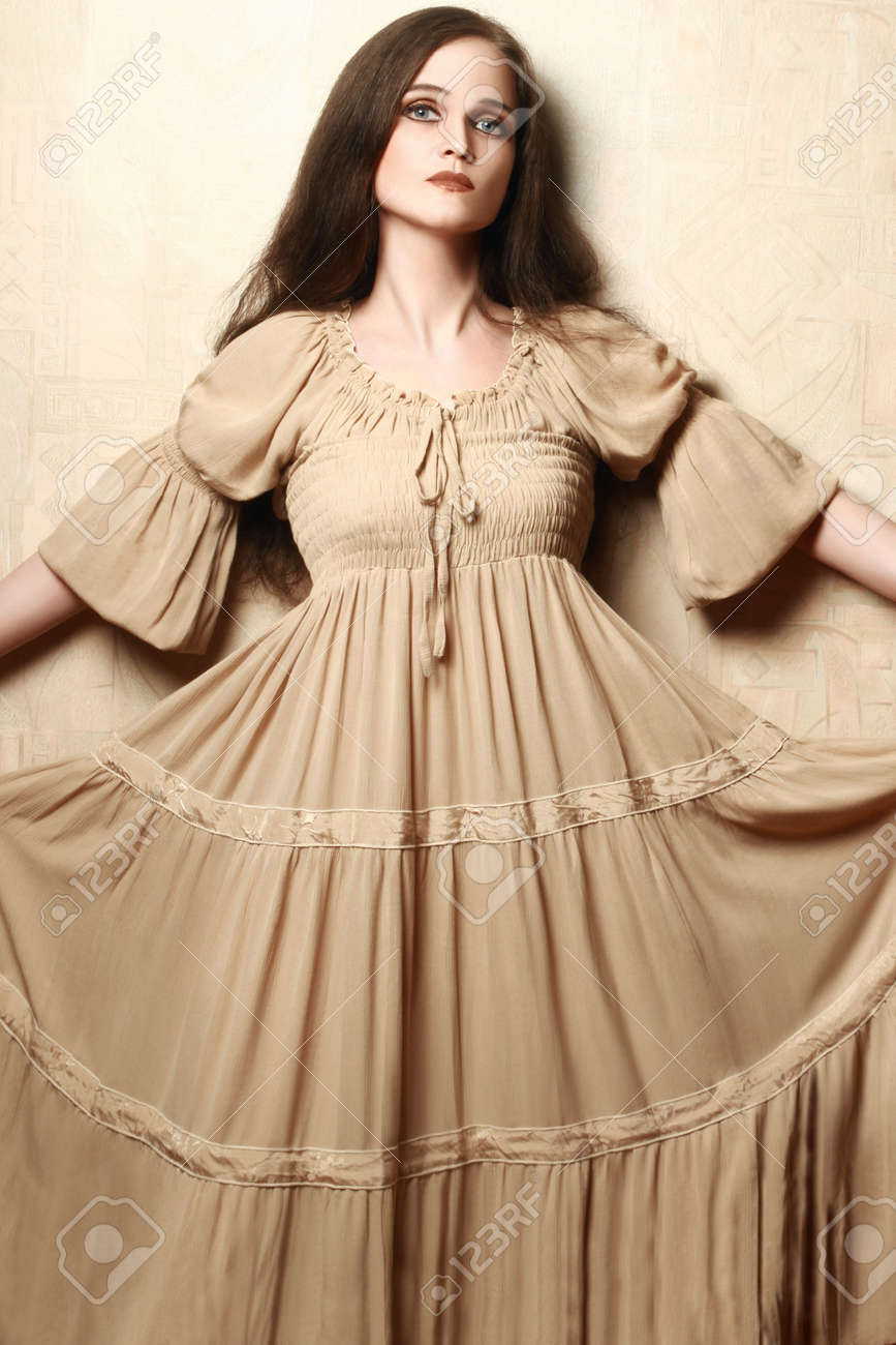 Fashion Woman In Vintage Dress Retro Dress Model Elegant Romantic Style  Stock Photo 43679896