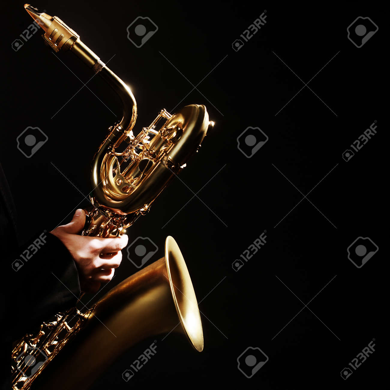 Saxophone player Jazz Music Instrument Baritone Sax isolated on black Standard-Bild - 47529427