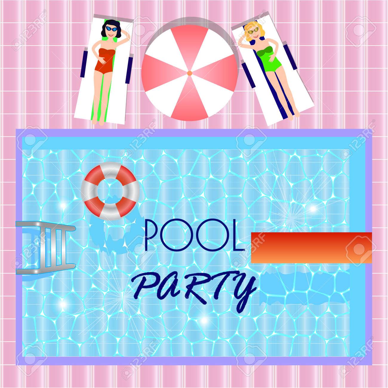 Pool-Party-Einladung Mit Draufsicht Von Pool, Mädchen In Sunbeds ...