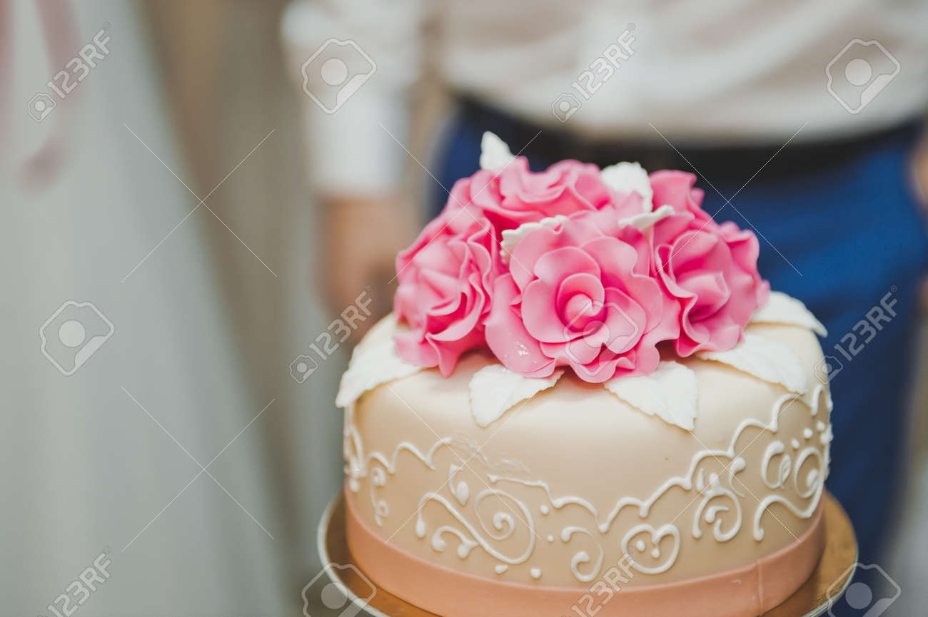 Wedding Cake Three Tier With Flowers. Stock Photo, Picture And ...