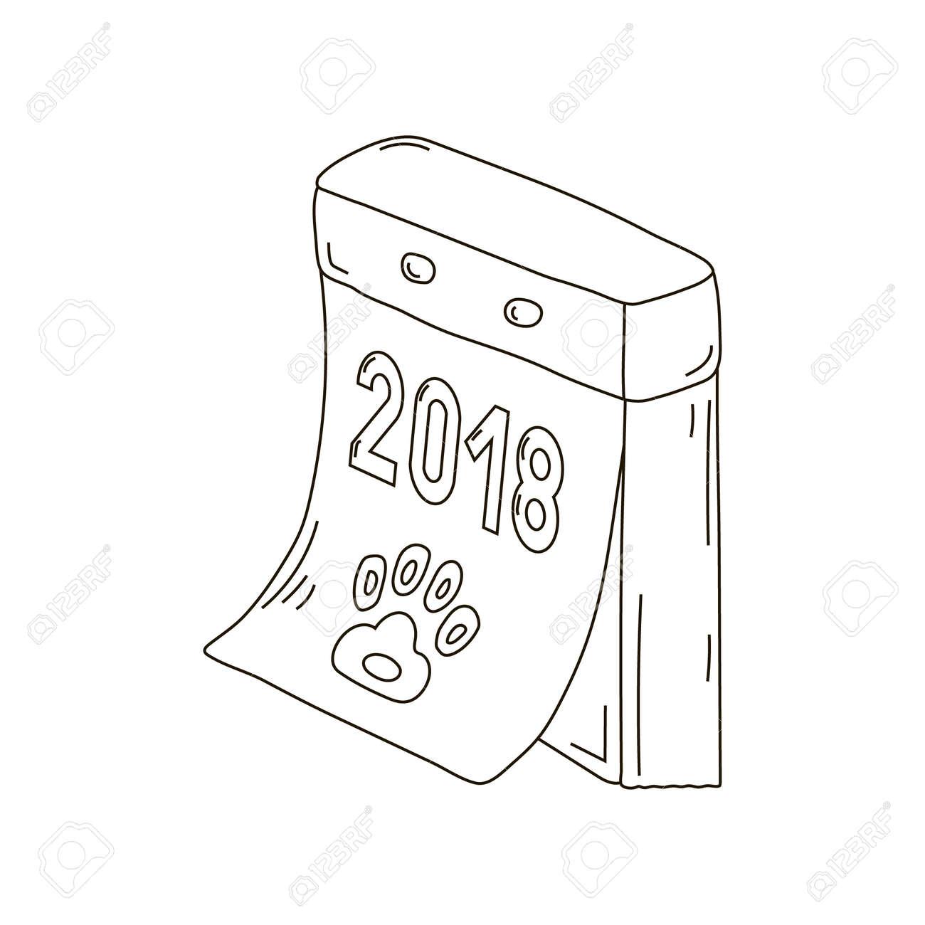 Retro Calendar Tear Off Russian New Year Dog Icon Draw Two