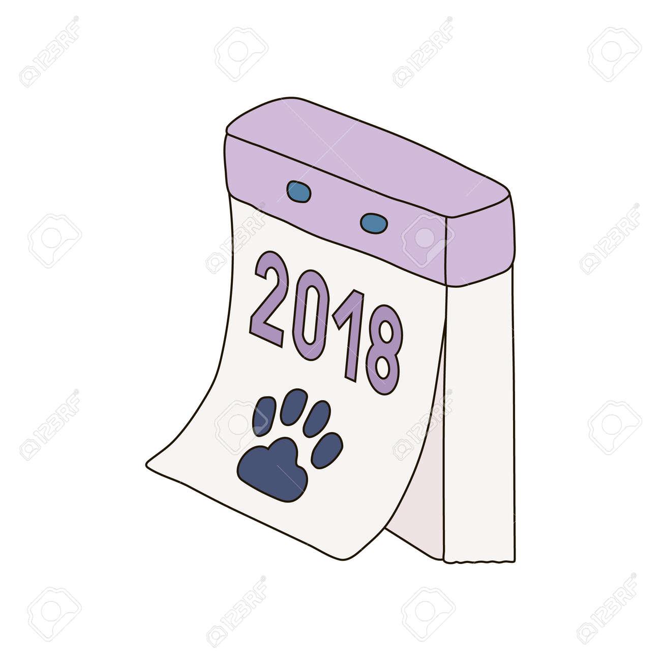 Retro Calendar Tear Off Russian New Year Dog Icon Logo Draw