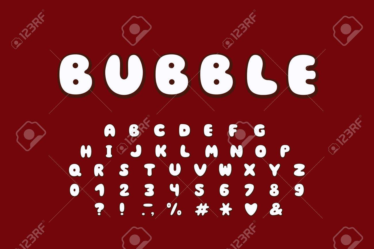 Alphabet Bubble Design Upper Case English Letters Bold Font