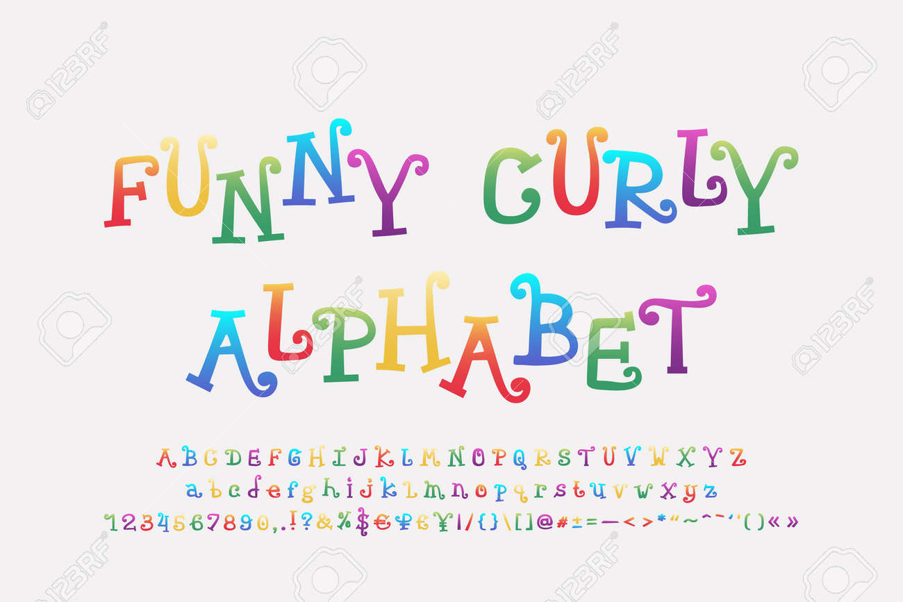 Funny colored alphabet cartoon curly font. Uppercase and lowercase letters, numbers, punctuation marks. Vector illustration. - 150738111