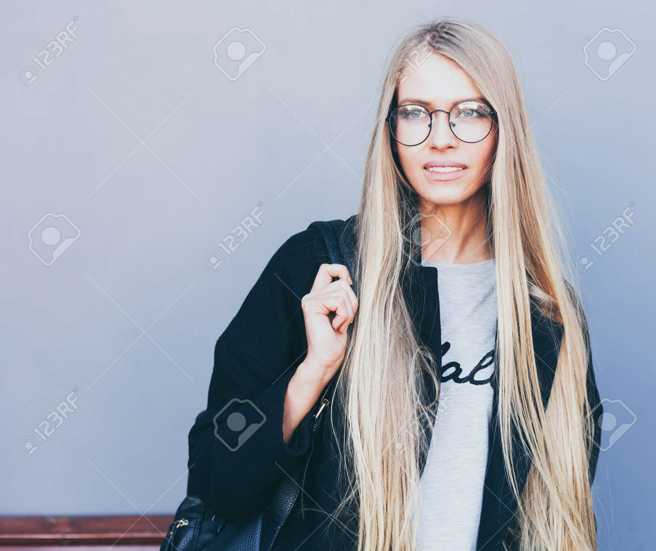 Closeup Portrait Of Blonde Girl With Long Haircut Hipster Insagram
