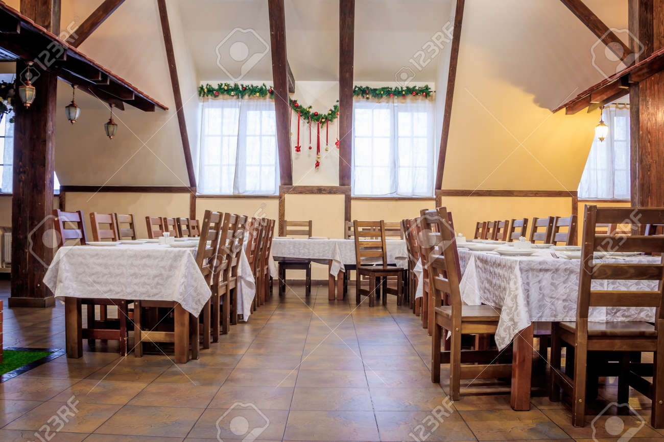 Christmas Decoration Of The Hall In The Restaurant Holiday In Stock Photo Picture And Royalty Free Image Image 127623905