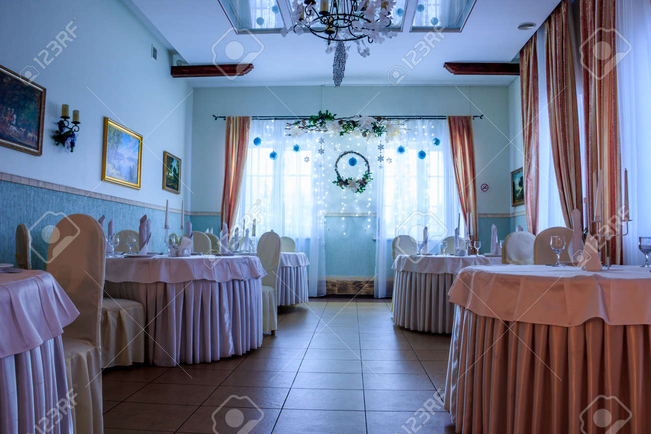 Christmas Decoration Of The Hall In The Restaurant Holiday In Stock Photo Picture And Royalty Free Image Image 128080679