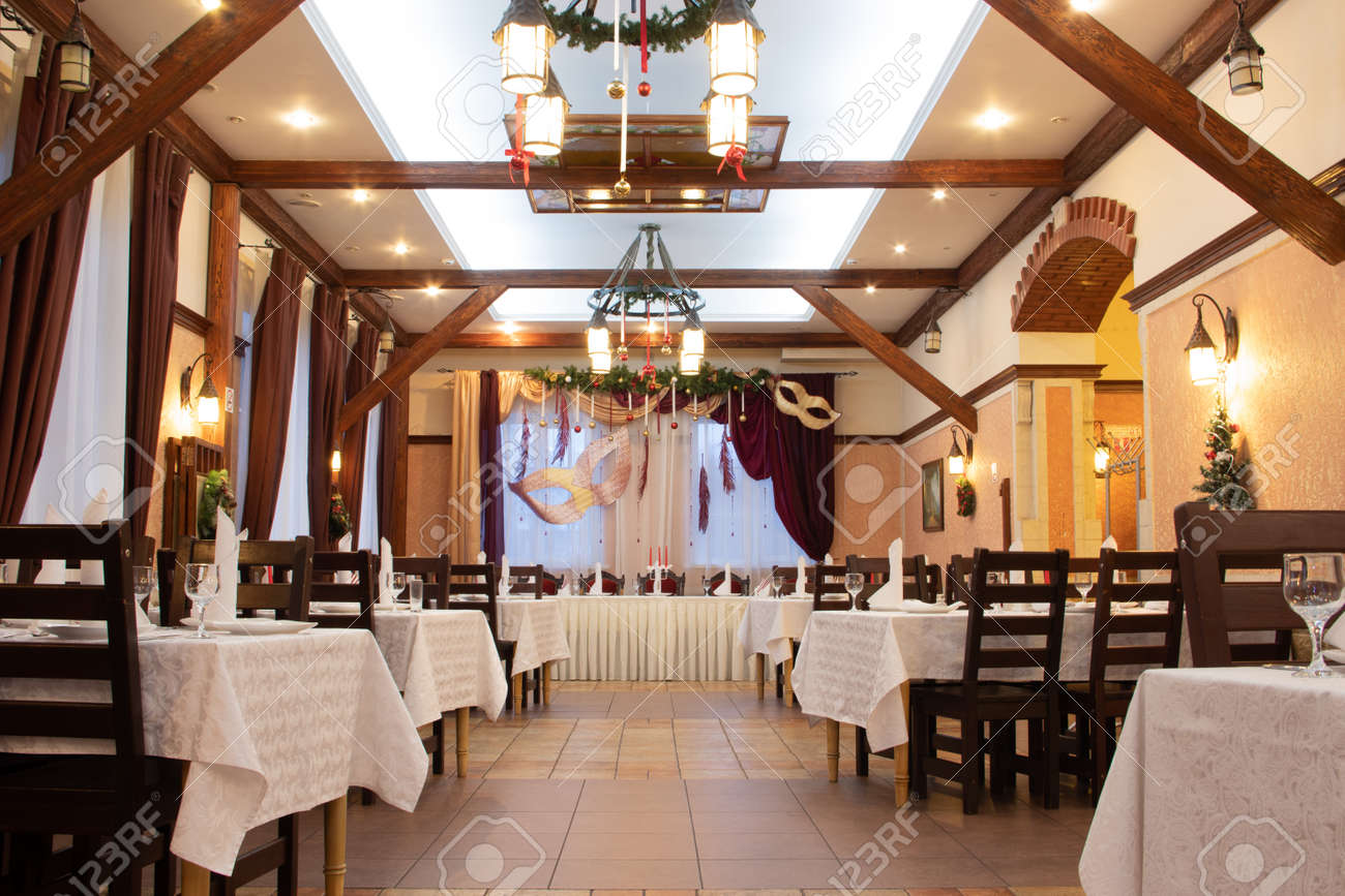 Christmas Decoration Of The Hall In The Restaurant Holiday In