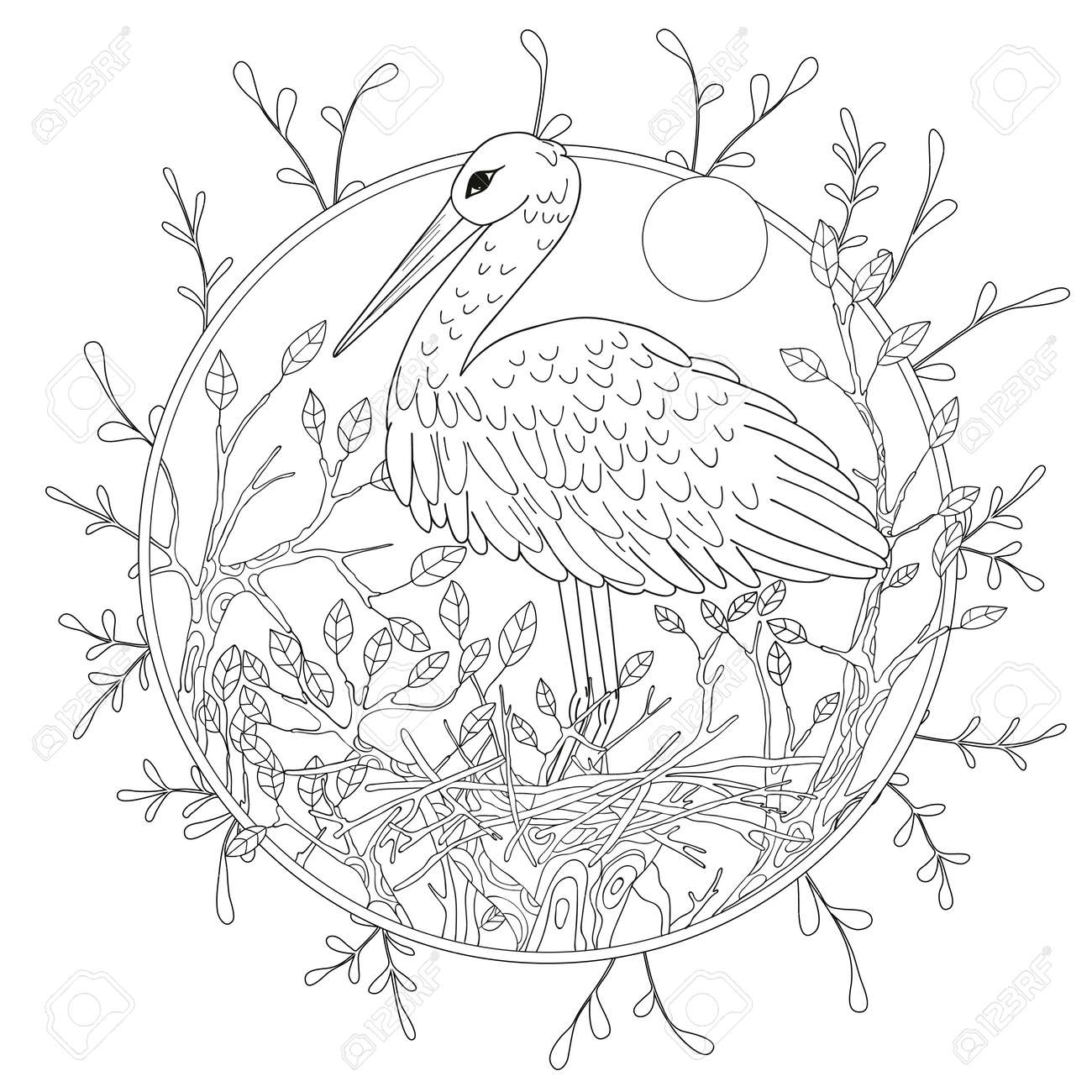 Stylized Pelican Bird Among Foliage Freehand Sketch For Adult Anti Stress Coloring Book Page Stock