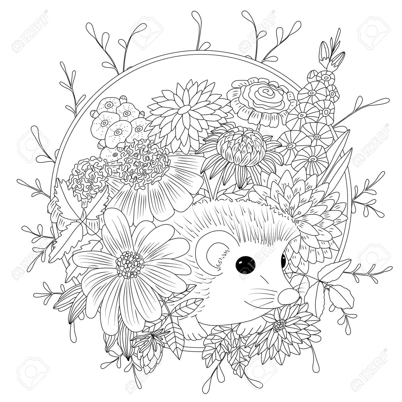 Vector Illustration Hedgehog With Flowers Coloring Book Anti Royalty Free Cliparts Vectors And Stock Illustration Image 82692676
