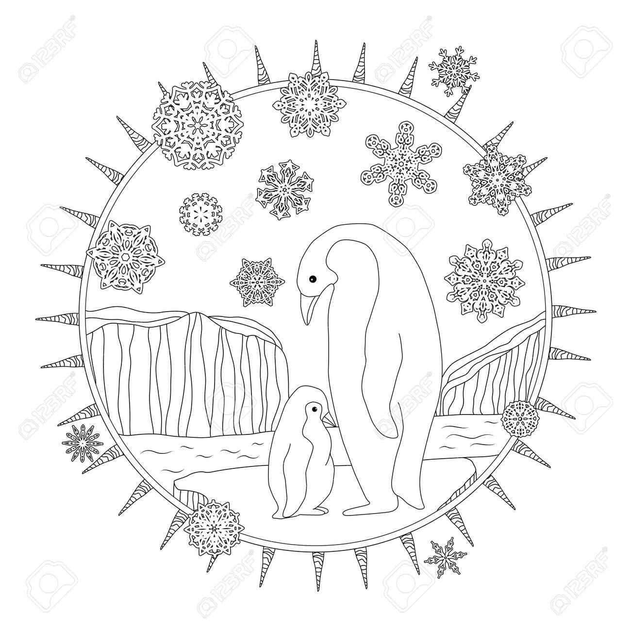 Atractivo Lindo Bebé Pingüino Para Colorear Imágenes - Dibujos Para ...