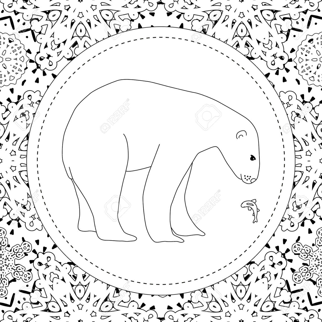 Coloring pages. A polar bear stands in the snow. A winter postcard.