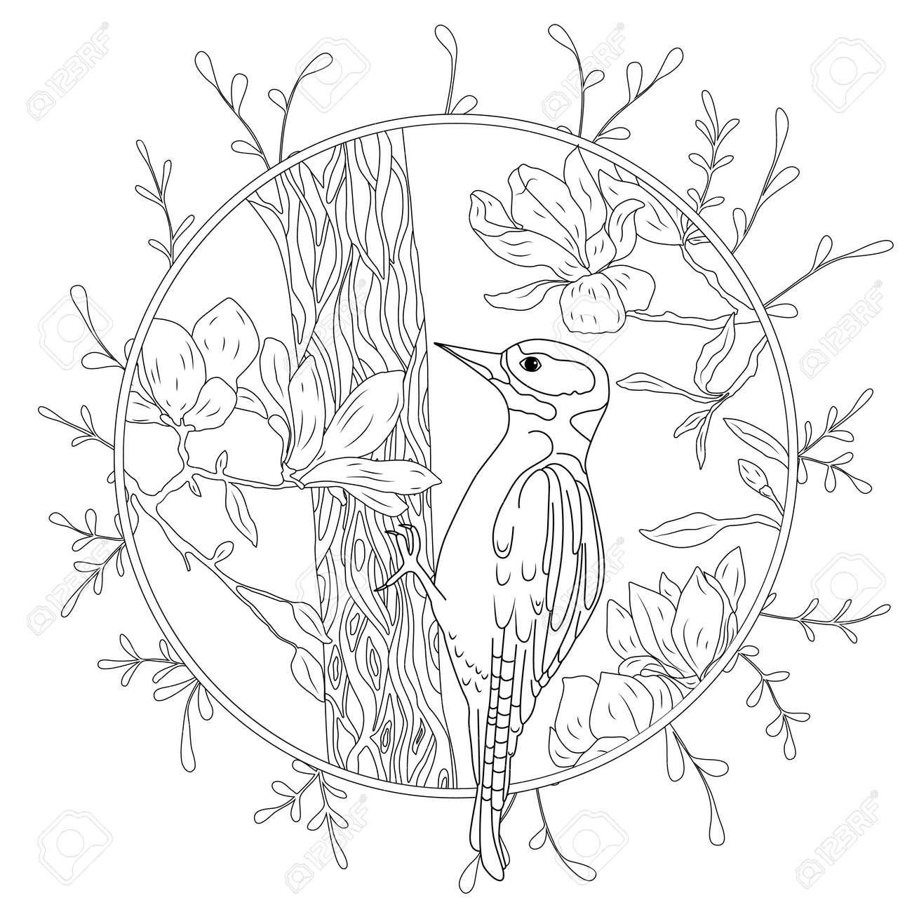Coloriage Arbre Branche.Pic Stylise De Dessin Anime Sur Une Branche D Arbre Croquis Dessine